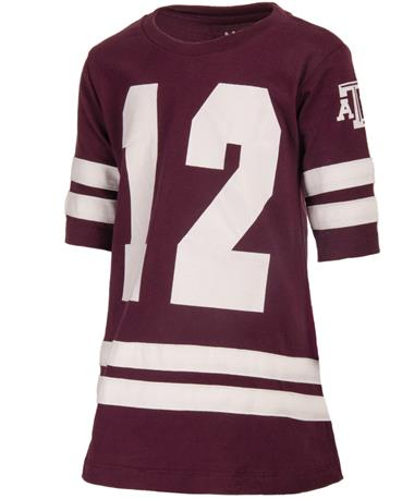 Game Day Dress with Double Stripes - Front Maroon/White