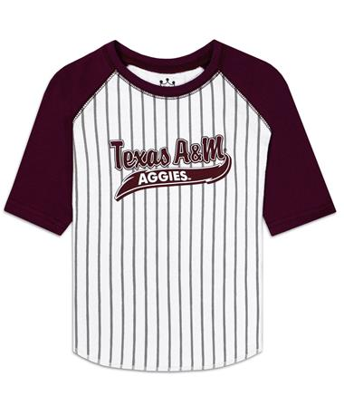Texas A&M Aggies 3/4 Sleeve Baseball Tee - Front Maroon/White