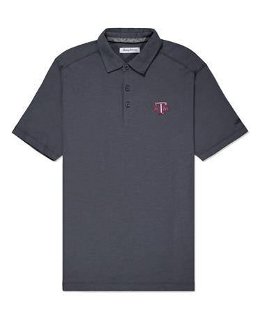 Texas A&M Tommy Bahama Bali Coast Polo - Grey - Front Grey