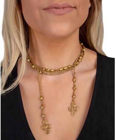 Adera Long Tiny Mix 2 Cross Necklace - Model Gold