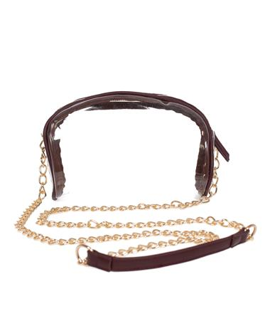 Maroon Rounded Clear Purse With Gold Chain Maroon