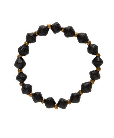 Adera Paper Mini Bead Bracelet Black