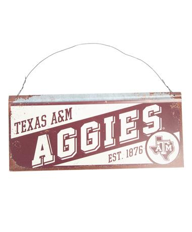 Texas A&M Aggies Small Tin Sign White/Maroon