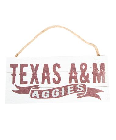 Texas A&M Wood Plank Hanging Sign White/Maroon