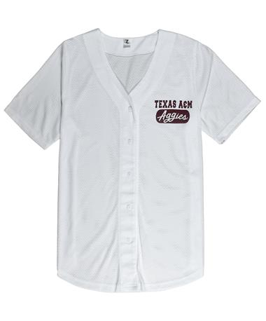 Texas A&M Aggies Women`s Home Baseball Tee - Front White