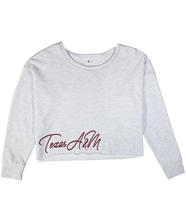 Texas A&M Victory Crop Sweatshirt - Laid Flat Light Grey