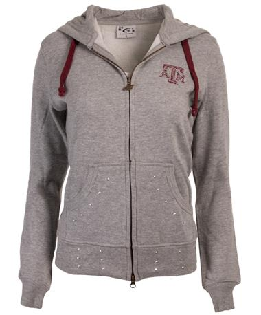 Texas A&M Hooded Full Zip Grey Sweatshirt - Front Grey
