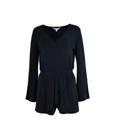 Wrap Party Romper - Front Charcoal Grey