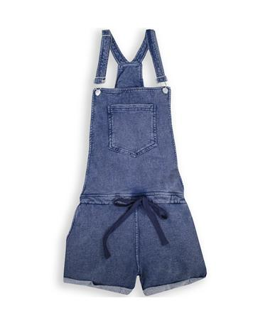 Z Supply Knit Denim Short Overalls - Front Indigo
