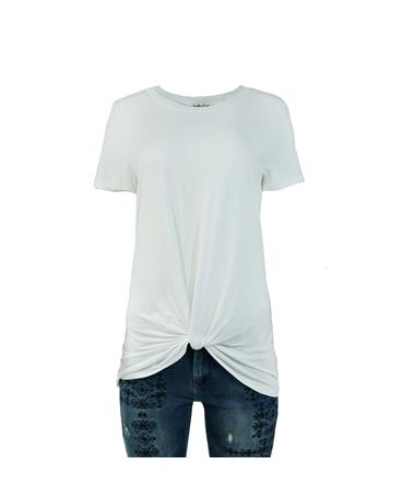 Knot Front Tee - Front White