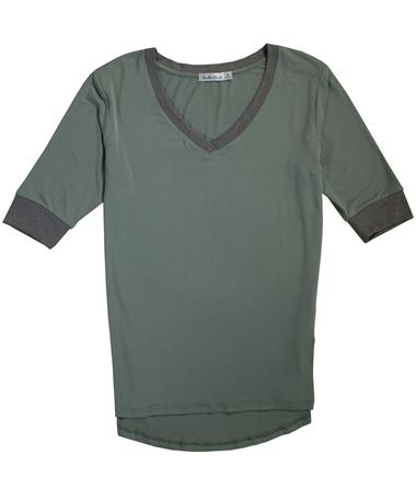 Contrast Rib V-Neck Tee - Laid Flat Fern/Heather Grey