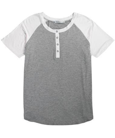 Athletic Henley Tee - Laid Flat Heather Grey/White