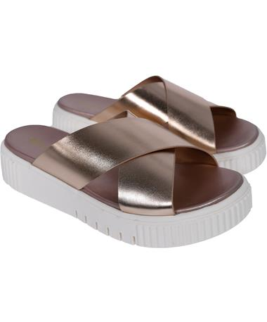 Lia Metallic Rose Gold Sandals - Angle Rose Gold