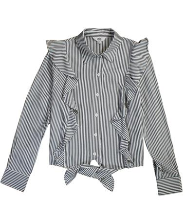 What`s My Line Ruffle Button Down - Laid Flat Dark Blue