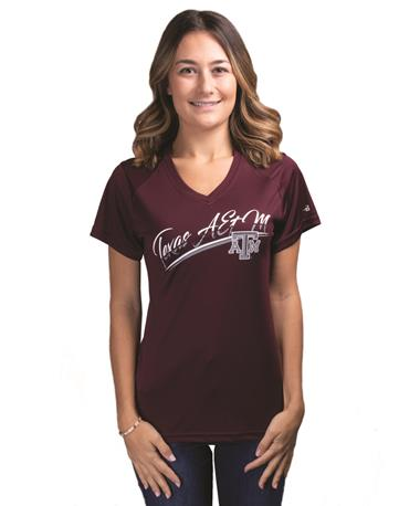 Texas A&M Women`s Badger Basic Ultimate Tee - Front Maroon