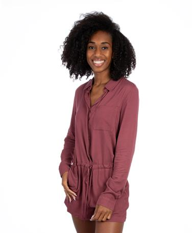 Long Sleeve Button Down Romper - Front Multi