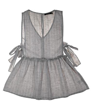 Ruffled Waist Peplum Top - Front Grey