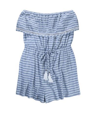 Striped Strapless Romper - Front Blue/White