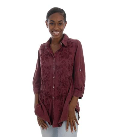 Maroon Caite Womens Embroidered Top Wine