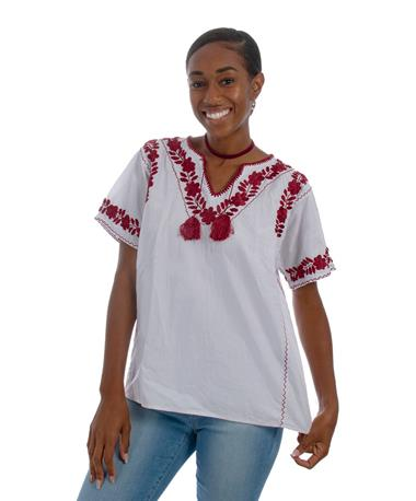 Nativa Estrellita Embroidered Blouse White/Maroon
