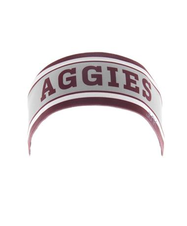 Aggies Stripe Flex Tie Headband Grey/Maroon