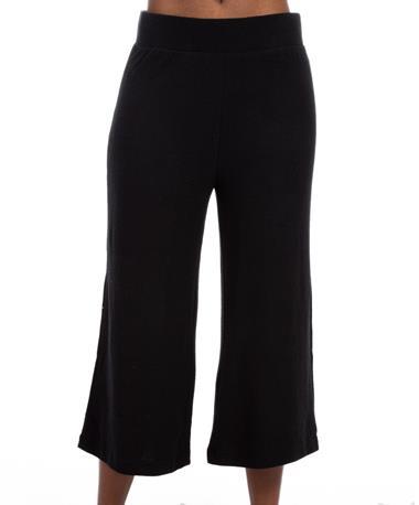 Soft-Spun Knit Culottes - Front Black