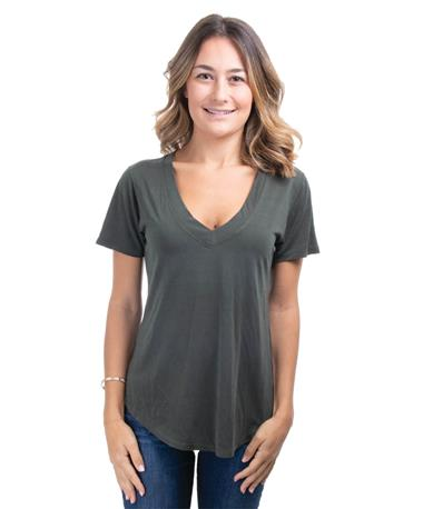 Lux Modal Deep V-Neck Tee - Front Rosin