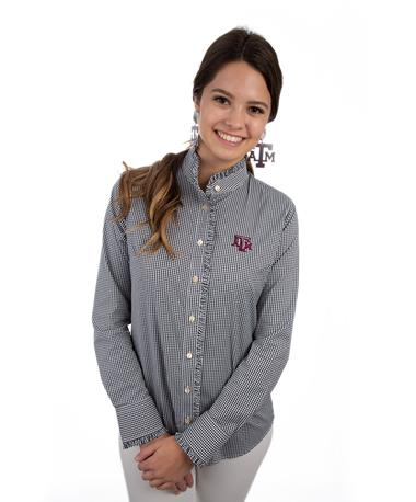 Texas A&M Ladies Ruff Stretch Buttondown Black/White