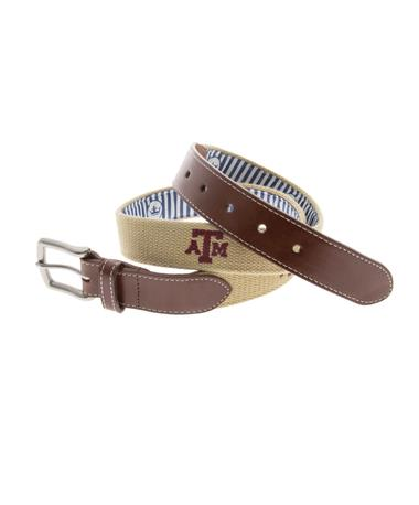 Texas A&M Peter Millar Embroidered Belt - Khaki Khaki