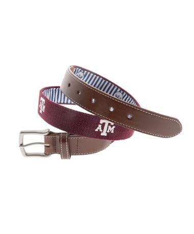 Texas A&M Peter Millar Embroidered Belt - Maroon Maroon
