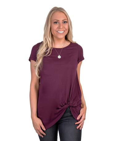 Side Tie Scoop Neck-front Maroon