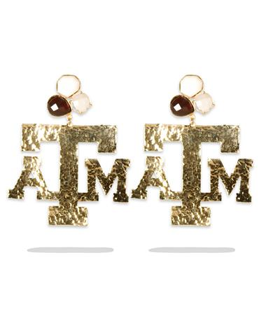 Texas A&M 3 Gemstone Gold Earrings - Pair Gold