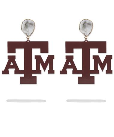 Texas A&M Maroon Logo White Geode Earrings - Pair Maroon