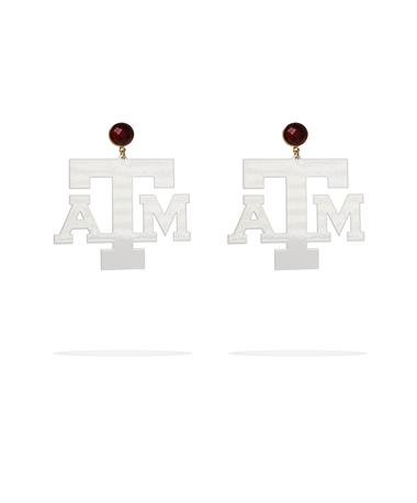 Texas A&M White Logo Garnet Earrings - Front White