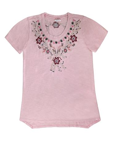 Melina Floral Embroidered Short Sleeve Top - Pale Pink - Front Pale Pink