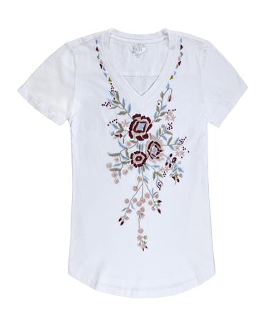 Karli Floral Embroidery Top - Front White