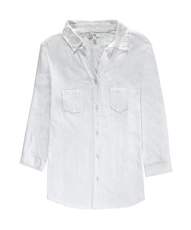 Rosie Embroidered 3/4-Sleeve Button Down - Front White