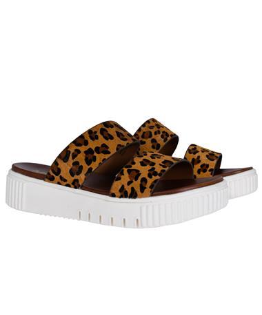 Lexi Leopard Print Sandal - Side Cognac