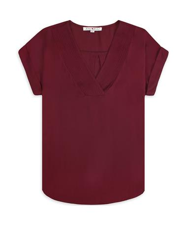 Maroon Joy Joy V Neck Top - Front Maroon