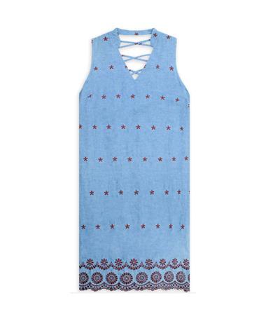 Maroon Embroidered Joy Joy Chambray Dress - Front Chambray/Maroon