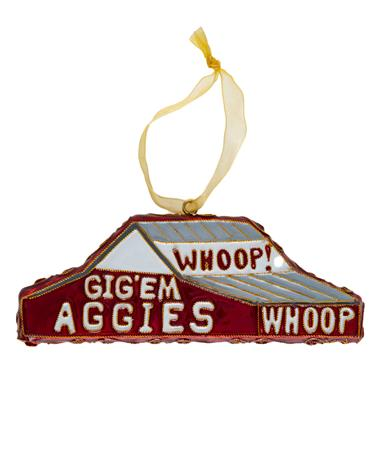 Texas A&M Kitty Keller Whoop Barn Ornament - Front Maroon