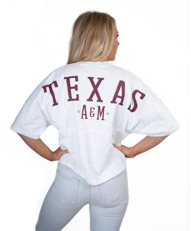 Texas A&M Short Sleeve Cropped Spirit Jersey - Back White