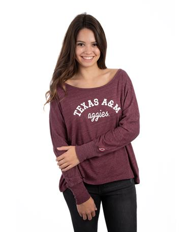 League Texas A&M Intramural Oversized Long Sleeve - Front Maroon