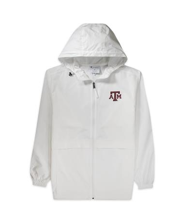 Texas A&M Champion Full Zip Packable Jacket - White - Front White