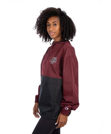 Color Block Packable Jacket Maroon