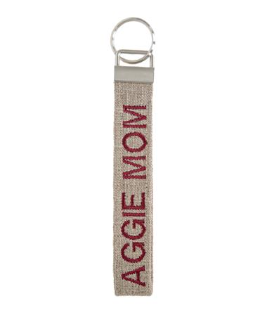 Aggie Mom Canvas Keychain - Front Natural