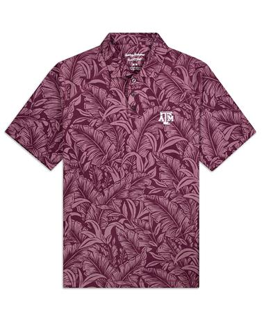 Texas A&M Tommy Bahama Sport Leafbacker Polo - Front Maroon Berry