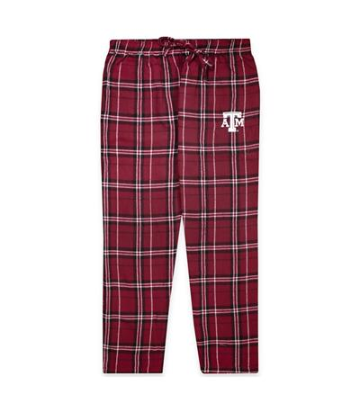 Texas A&M Plaid Pajama Pant-Front Maroon