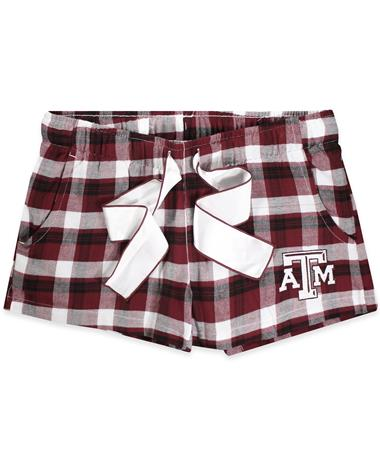 Texas A&M Piedmont Ladies Pajama Shorts - Maroon/White - Front Maroon/White