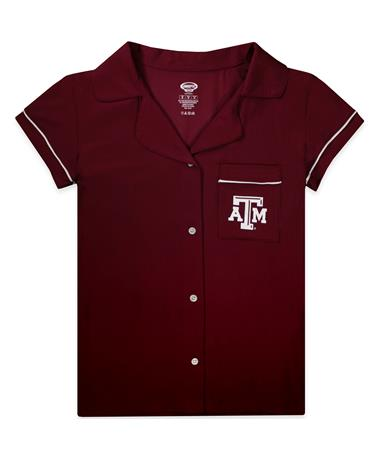 Texas A&M Fairway Ladies Sleep Set - Maroon - Top - Front Maroon